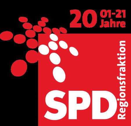 Logo der SPD-Regionsfraktion Hannover mit Zusatz 20 Jahre - 01-21