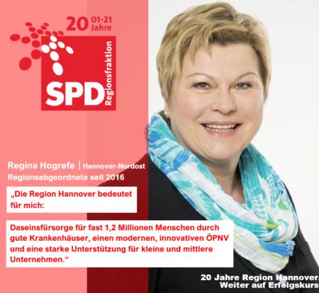 20 Jahre Region Hannover – 20 Jahre SPD-Regionsfraktion Hannover | Regina Hogrefe: Die Region Hannover bedeutet für mich: Daseinsfürsorge für fast 1,2 Millionen Menschen durch gute Krankenhäuser, einen modernen, innovativen ÖPNV und eine starke Unterstützung für kleine und mittlere Unternehmen.