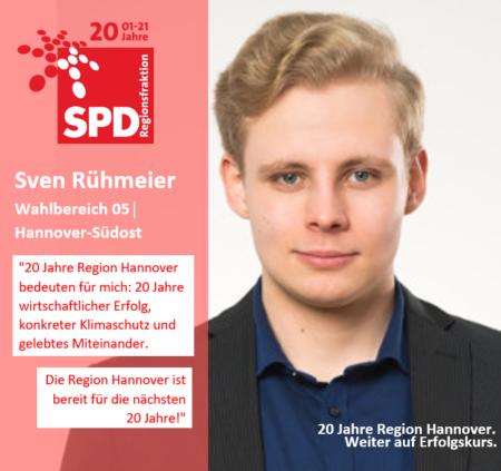 """Sven Rühmeier   20 Jahre Region Hannover – 20 Jahre SPD-Regionsfraktion Hannover: """"20 Jahre Region Hannover bedeuten für mich: 20 Jahre wirtschaftlicher Erfolg, konkreter Klimaschutz und gelebtes Miteinander. Die Region Hannover ist bereit für die nächsten 20 Jahre!"""""""