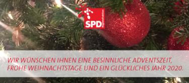 Wir wünschen Ihnen eine besinnliche Adventszeit, frohe Weihnachtstage und ein glückliches Jahr 2020.